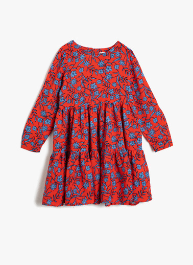 Koton Kids Çiçekli Elbise Oranj